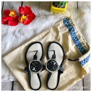 Tory Burch Black and White Fringe Miller Sandal